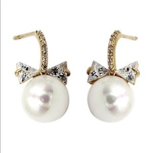 Pendant pearl crystal bow earrings